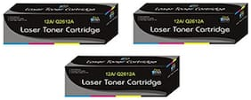 Print Star 12A / Q2612A Pack of 3 Compatible for HP 12A Toner Cartridge For HP LaserJet 1010  1012  1015  1018  1020  1022  1022n  3020  3030