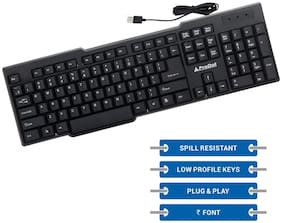 ProDot KB-207s Wired USB Standard Keyboard with 1.5 Meter Cable and Foldable Stands