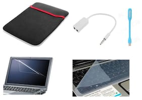 Psycho Art Laptop Screen Guard For 15.6 inch Laptop With Audio Splitter/Laptop Sleeve/USB LED Light & Key Guard