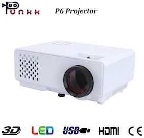 Punnkk P6 1000 Lumens LED Projector with HDMI,VGA,AV, USB White