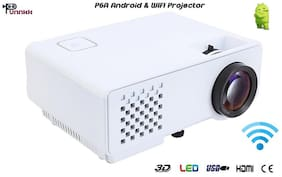 Punnkk P6A 1000 Lumens Android & WIFI LED Projector with HDMI,VGA,AV, USB White
