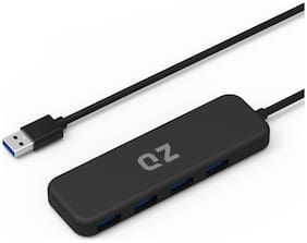 QZ USB 3.1 Hub, 4 Port, 1.3 ft Built-in Cable, for Laptop high Speed (Black)