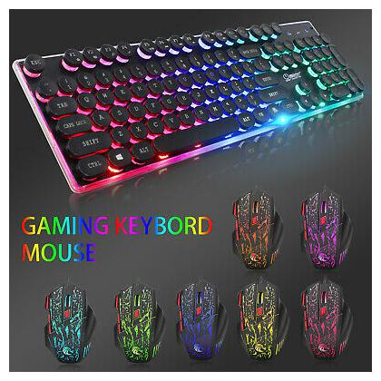 Rainbow Backlight Wired Mechanical Gaming Keyboard and 7Color LED Mouse Mice Set