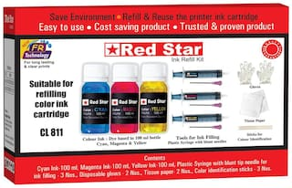 Red Star Ink refill for Canon Pixma CL 811 multi colour ink cartridge,   (300 ml, dye based,  smudge free, fine flow, Tri colour ink and refill tools)