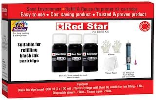 Red Star Ink refill for Canon Pixma PG 50 black ink cartridge,  (300 ml, dye based,  smudge free, fine flow black ink and refill tools)