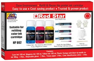 Red Star Ink refill for HP 802 Multi colour ink cartridge, (300 ml, dye based,  smudge free, fine flow, Tri colour ink and refill tools)