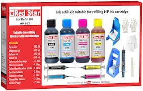 Red Star Ink Refill Kit With Suction Hoder For HP 802 Black & Color Ink Cartridge