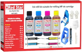 Red Star Ink Refill Kit With Suction Hoder For HP 803 Black & Color Ink Cartridge