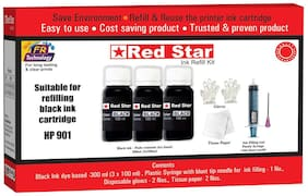 Red Star Ink refill for HP 901 black ink cartridge, (300 ml dye based  black, smudge free,  fine flow ink and refill tools)