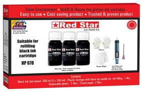 Red Star Ink refill for HP 678 black ink cartridge , (300 ml dye based  black, smudge free,  fine flow ink and refill tools)