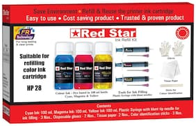 Red Star Ink refill for HP 28 multi colour ink cartridge ,   (300 ml, dye based,  smudge free, fine flow, Tri colour ink and refill tools)