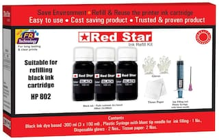 Red Star Ink refill for HP 802 black ink cartridge,  (300 ml dye based  black, smudge free,  fine flow ink and refill tools)