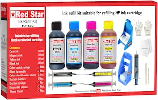 Red Star Ink Refill Kit With Suction Hoder For HP 680 Black & Color Ink Cartridge