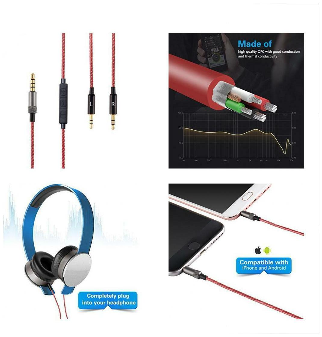Republic Headphone Cable with Remote Volume and Mic Fit Sol Republic Master Tracks HD Tracks HD2 Sol Republic V8 V10 V12 Sol Republic X3 Headphone Replacement Headset Audio Cable Accessories