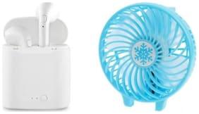 Sacro I7 twins Bluetooth headset Hand fan(White)n For All smartphone (White)