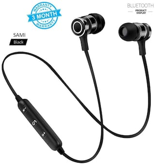 Sami Magnet Bluetooth headphones Wireless Headset Sport Running Earphones with Volume Control Bluetooth Headset with Mic Bluetooth Headset with Mic  (Red, In the Ear) BY Sami