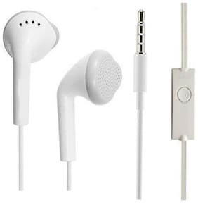Samsung Galaxy J7 (2018) Compatible In Ear Original White Handsfree Earphone/Earphones Headphone with Clear Stereo Sound & calling Microphone By MATT PIE.