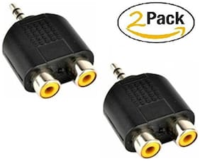 SeCro (2 Pack) 2 RCA Female to 3.5mm Aux Stereo Male Jack Connector Convered AV Video Y Splitter Cable Adaptor