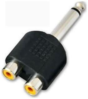 SeCro New 6.35mm Stereo Male Plug to 2RCA Jack Female Splitter Adaptor Audio Video Connector RCA Socket