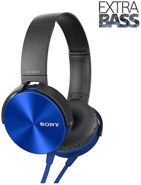 Sony MDR-XB450 Extra Bass Over Ear Wired Headphones (Blue)