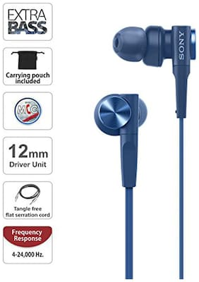 Sony MDR-XB55AP In-Ear Wired Headphone ( Blue )