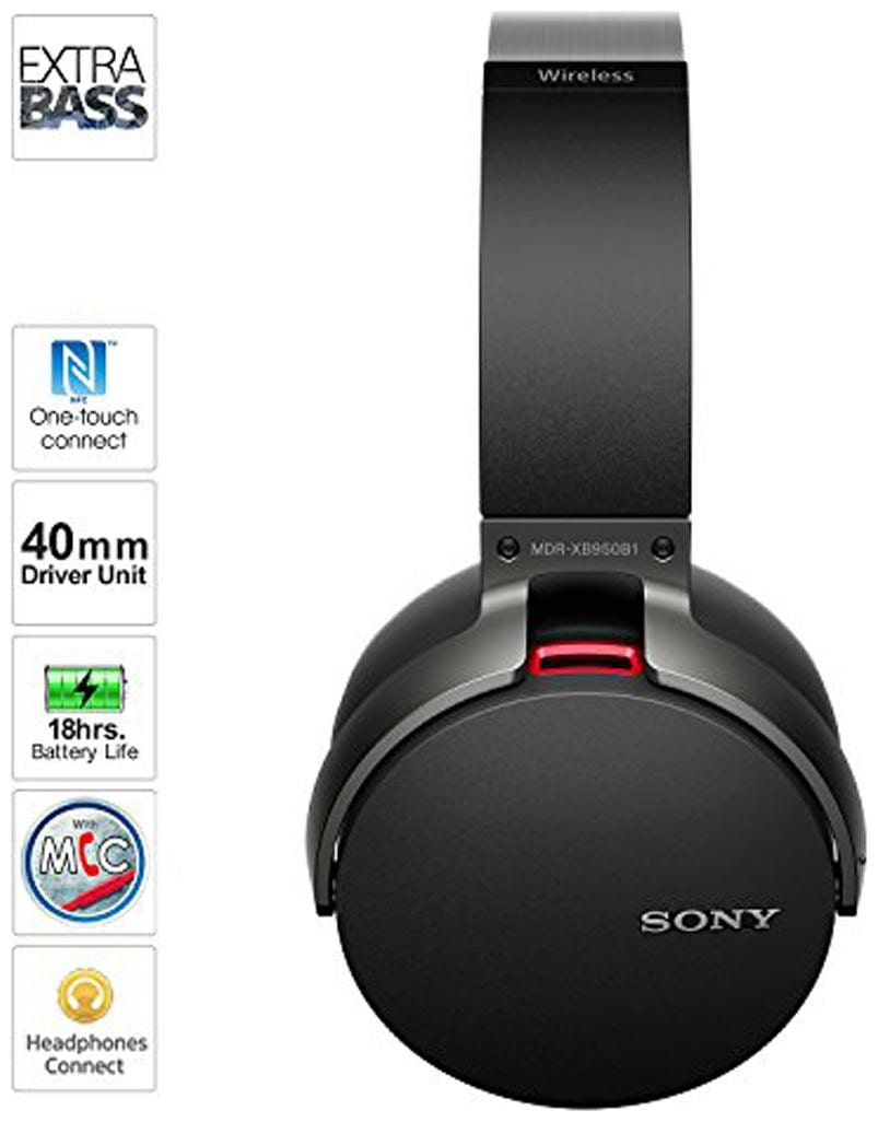 Sony MDR XB950B1 Over Ear Bluetooth Headset   Black
