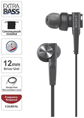 Sony MDR-XB55AP Extra Bass in-Ear Headphone with Mic (Black)