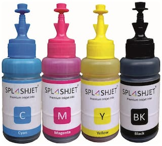 Splashjet Ink for Epson L130, L360, L380, L361, L565, L210, L220, L310, L350, L355, L365, L385, L405, L455, L485, L550, L555, L605, L1300 Printer T664 Ink (4 Color Bottle) - PA1004