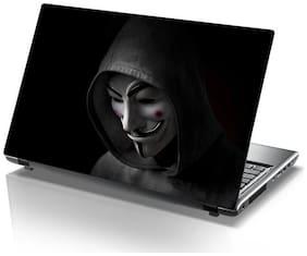 Sticker Studio Anonymous-Men-Mask Laptop Skin & Sticker (PVC Vinyl Size- 38.1 cm (15 inch) x 25.4 cm (10 inch))