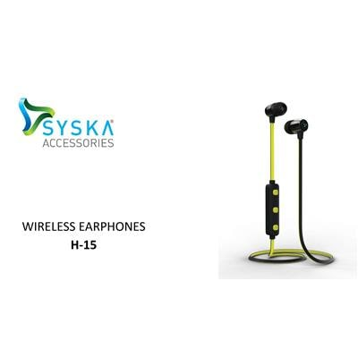 Syska H-15 Bluetooth Headphone In Ear Headphone (Yellow;Black)