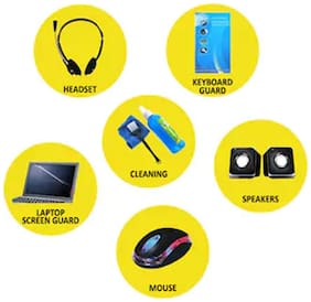 Tech Gear 5 in 1 Combo of Headphone + Speaker + Cleaning Kit + Keyboard Protective + Mouse + Laptop Screen Guard