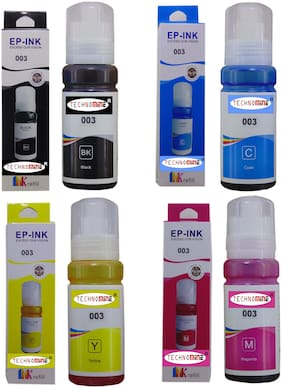 Technomine Epson Eco Tank series printer, Compatible Refill ink set 001,002,003 FOR L3100/L3101/L3110/L3150/4150/4160/6160/6190 SERIES - 70ML x 4 Bottle .