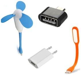 Techvik Combo Of Flexible USB Design Fan, Flexible Usb LED Light Lamp, Micro USB OTG Adapter With 2 Pin Universal Wall Charger Dock