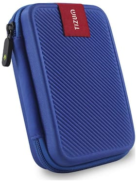 TIZUM External Hard Drive Case for 2.5-Inch Hard Drive - Double Padded (Blue)