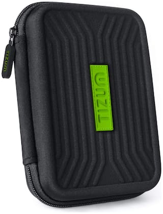 Tizum Portable shockproof EVA Carrying Case Shell with Zipper for 2.5 Hard Disk Drives (Black)