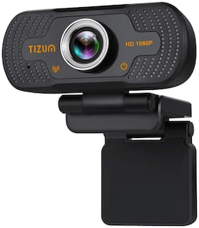 TIZUM ZW81 Full HD 1080p Webcam Web Camera for PC, Mac, Laptop, MacBook; Wide Angle, ALC, Noise-Reducing Mic, Video Calling/Conferencing; for Online Teaching, Gaming, Skype, Xbox