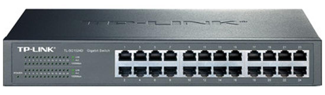 TP LINK TL SG1024D 24 Port 10/100/1000 Mbps Unmanaged Gigabit Desktop/Rackmount Switch