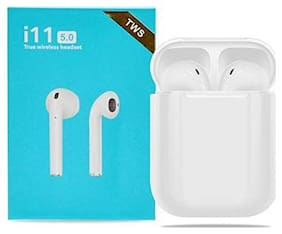 TSV  i11-TWS Tws Lightweight Bluetooth Earbuds With charging  White Case Comaptible For Vivo,Oppo,Redmi Devices