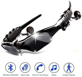 TSV Premium Quality Sports Sunglasses With Bluetooth And Stereo Headset For Bike Riders And Music Lovers Black