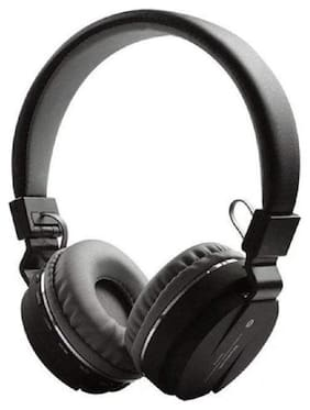 TSV SH12 Wireless Bluetooth Headphone With FM And SD Card Slot For Android & IOS (Black)