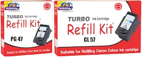 Turbo Refill Combo for Canon Pixma PG 47 black and CL 57 color ink cartridge
