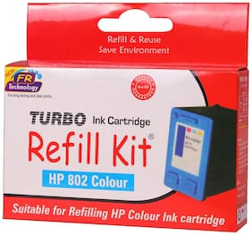 Turbo Refill Kit For HP 802 Ink Cartridge (Multi Color)