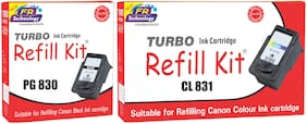 Turbo Refill Combo for Canon Pixma PG 830 black and CL 831 color ink cartridge