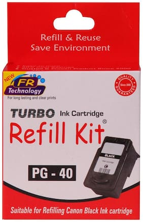 Turbo Refill Kit For Canon Pg 40 Black Ink Cartridge (Black)
