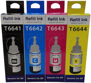UV INFOTECH Refill Ink Compatible For Ep L100, L110, L130, L200, L210, L220, L300, L310, L350, L355, L360, L365, L455, L550, L555, L565, L1300 - 70 ML Each (Black,Cyan,Magenta,Yellow) four Ink Bottles