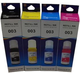 UV INFOTECH 003 REFILL INK COMPATIBLE FOR L3101 SERIES - 70ML EACH BOTTLE Multi Color Ink Bottle (pack of 4 colored bottles)-black ,yellow,cyan,magenta color bottles