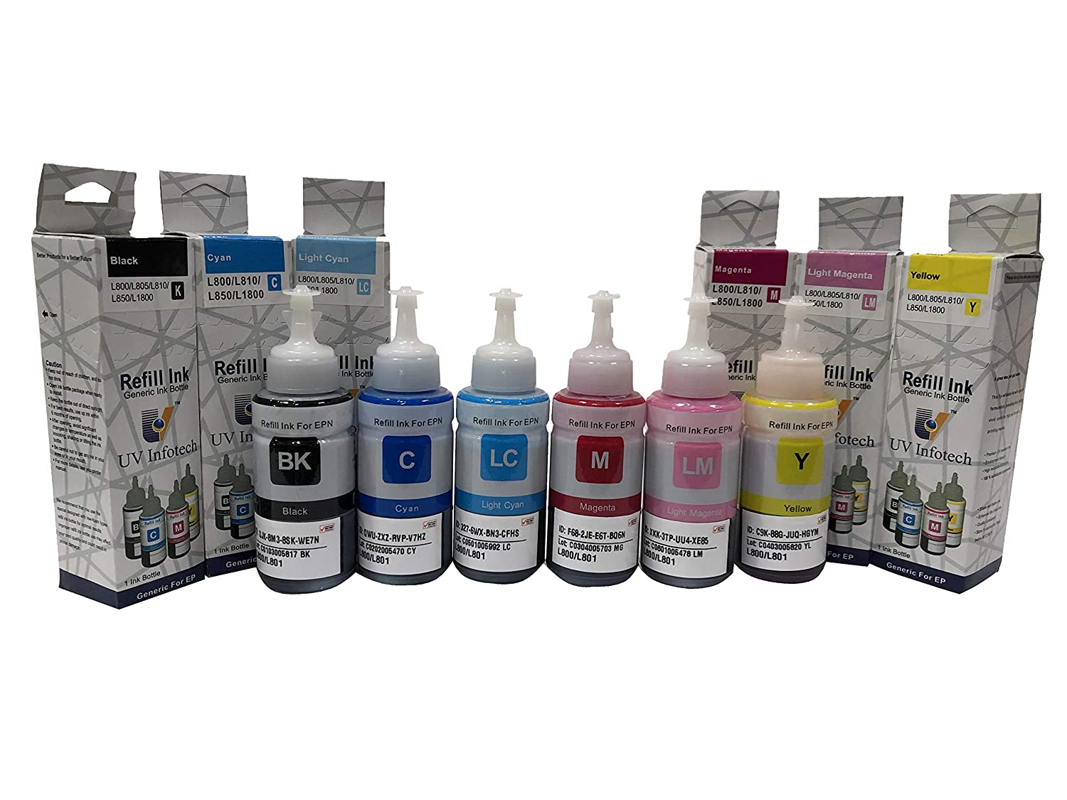 UV INFOTECH Refill Ink 673 / T6731 / 32/33 / 34/35 / 36 Compatible for Epson EcoTank L800 Printer  Bk/C/M/Y/LC/LM   70 ml Each