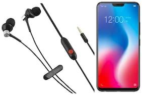 VEKARIYA Vivo V9 In-Ear Wired Headphone ( Black )