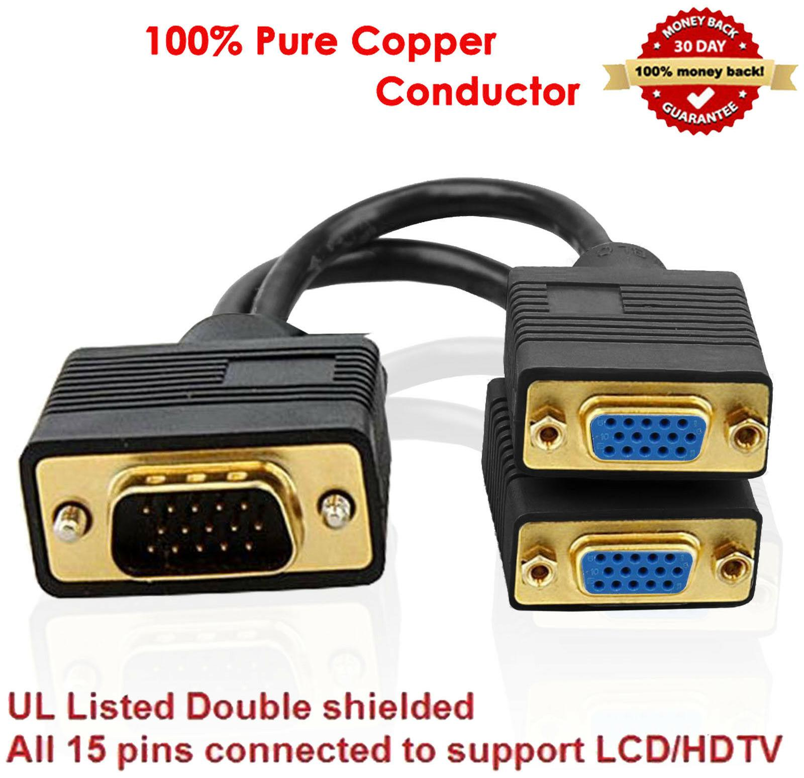 VGA 1 Male to Dual 2 VGA Female Converter Adapter Splitter Y Cable Gold Plated