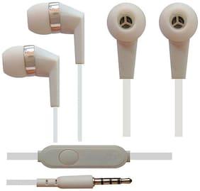 Vivo V9 / V7 / V5 Compitable In Ear Wired Headphone Earphones With Mic - White